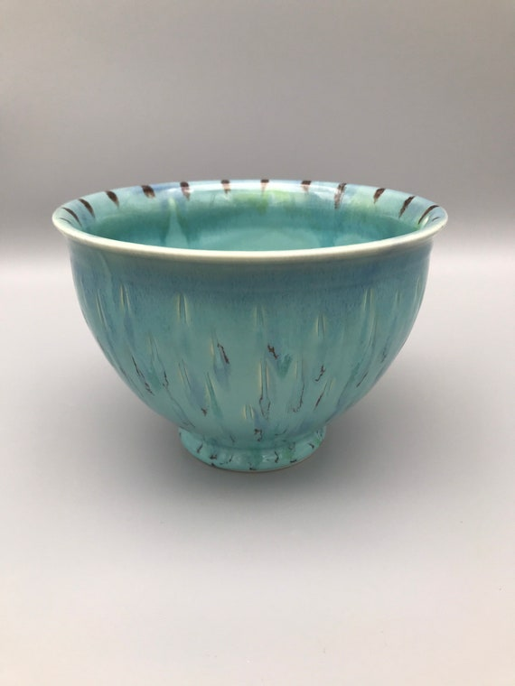 Key West Blue Bowl, Nice Mixing Bowl, Carved Salad Bowl