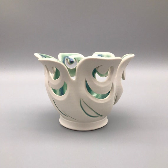 "4.5"" Twirling Orchid Pot, Handmade Bowl, Pierced Porcelain Orchid Vessel, Scalloped Pottery, Pierced Bowl"