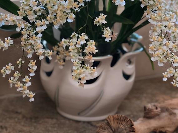 Porcelain Orchid Pot | Handmade Ceramic Vase | Twirling Orchid Pots