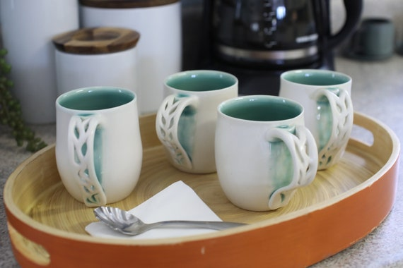 Set of 4 Handmade Mugs, Housewarming Gifts, Pierced Handled Mugs, Porcelain Cups, White Mugs, Matte & Glossy Aqua Mugs, Handmade Mugs,