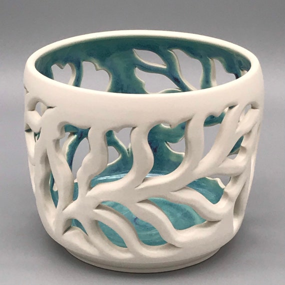 """4"""" to 6""""Leafy Orchid Pots, Candle Luminaries, Porcelain Orchid Pots, Pierced Porcelain Orchid Pot, White & turquoise Porcelain Pots"""