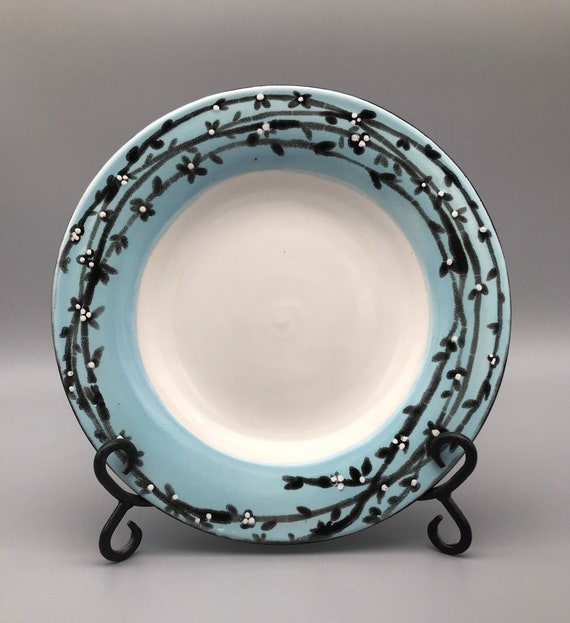 "9 5/8"" Blue & White Dish, Handmade Platter, Hand-Painted Plate, Aqua-blue Makings of A Nest, Plate"