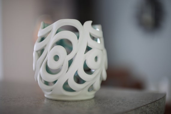 Wavy Orchid Pot | White 5 Inch Vase | Handmade Ceramic Candle Holder | Pierced Porcelain Luminary