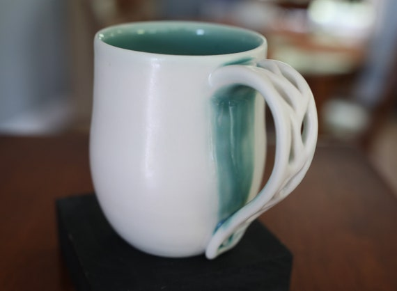 8oz. Turquoise Cups | Matte & Glossy Mugs | Porcelain Mugs Handmade | Porcelain Cups | Handmade Ceramics | Housewarming Gift | Gift for Mom