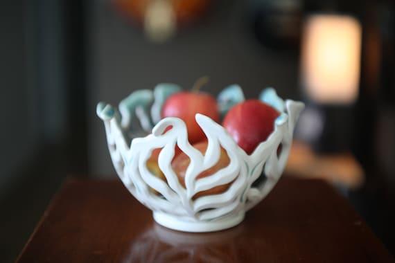 Handmade Porcelain Fruit Bowl, Porcelain Bread Basket, White Porcelain Basket, Leafy Porcelain Bowls