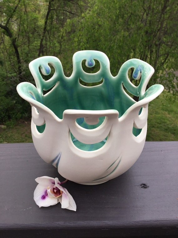 Twirling Pot | Handmade Ceramic Vase | Twirling Orchid Pot | Orchid Planter