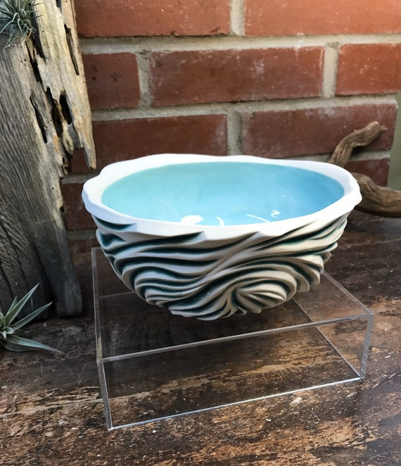 Aqua Blue Bowl |Carved Bowl | Handmade, Carved Bowl | Ceramic Bowl | Ceramic Blue Bowl  | Round Deep Dish |Handmade Gift | Housewarming Gift