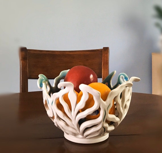Leafy Fruit Bowl | Handmade Ceramics| White Ceramic Bowl | Porcelain Bowl | Decorative Fruit Bowls |  Dinning Table Decor | Centerpieces