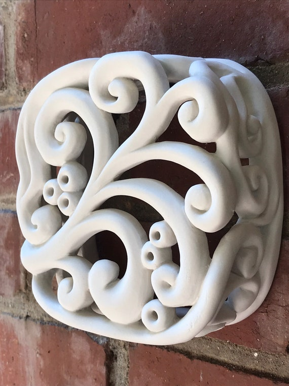 5 Inch Tile, 3D Wall Art, White Tile, Porcelain Tile, Handmade Tile, Wall Sculpture, Sculpted Porcelain Tile, Unique  Tile, Art