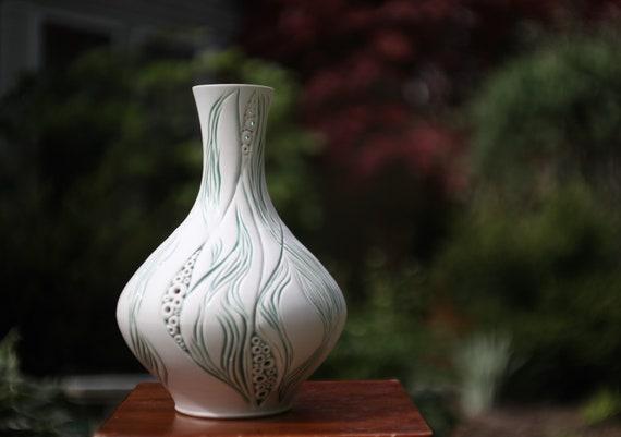 Large Porcelain Vase | White Carved & Inlaid Vase | Handmade Ceramic Vase | Pierced Porcelain Vase