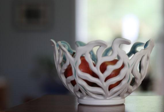 Leafy Bowl | Fruit Bowl | Carved Bowl | Pierced Porcelain Bowl