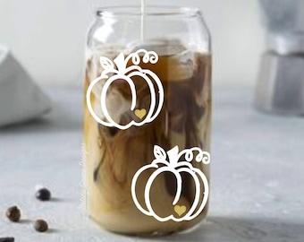 Pumpkin coffee cup. Whimsical pumpkin with glitter heart. Drinking glass. Iced latte. Beer can glass. Boho coffee mug. Fall decor. Halloween