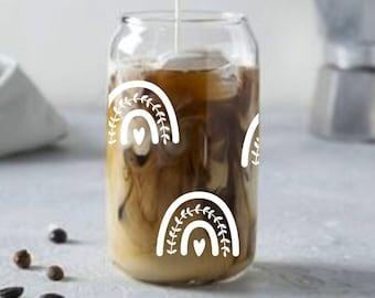 Rainbow drinking glass. Coffee cup. Summer tumbler. Iced latte. Beer can glass. Boho coffee mug. Fall decor. Heart cup. Love. Pride