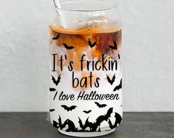 It's frickin' bats I love halloween. Coffee cup. Halloween drinking glass. Iced latte. Beer can glass. Boho coffee mug. Fall decor. Bats