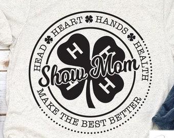 Show mom t-shirt. Unisex graphic tee. 4-h shirt. Midwest tee. Farm life. Fair life. Show pigs. Show cows. Mom life.