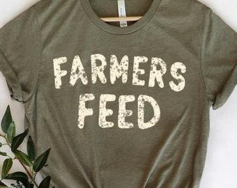 Farmers feed t-shirt. Farm wife tee. Trendy Country shirt. Farm life shirt. Boho tee. Southern. Ranching. Farmhouse style. Cow print