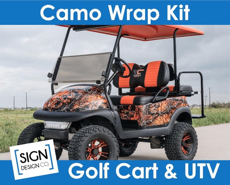 Camo Golf Cart vinyl wrap kit Real Tree Mossy Oak Realtree Camouflage look  decal sticker woods country outdoor deer Utv Atv EZ GO Club Car