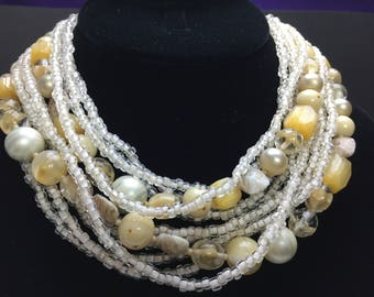 SALE!!  Vintage TORSADE Art Glass ELEVEN Strand Necklace Creams Whites Champagne Beige Colors Perfect for Weddings and Other Events