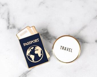 Traveler Enamel Pin Collection - Passport & TRAVEL