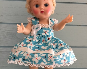 """New Outfit Dress Blooms Blue White Flowers for Vintage, Repro Ginny, Muffie 8"""" Dolls"""