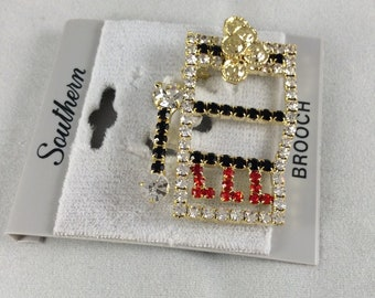 c85467068a7 Slot Machine Brooch Gold Toned with Black, Clear and Red Rhinestones
