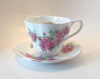 Royal Albert Vintage Pink Peony Fine Bone China Teacup and Saucer