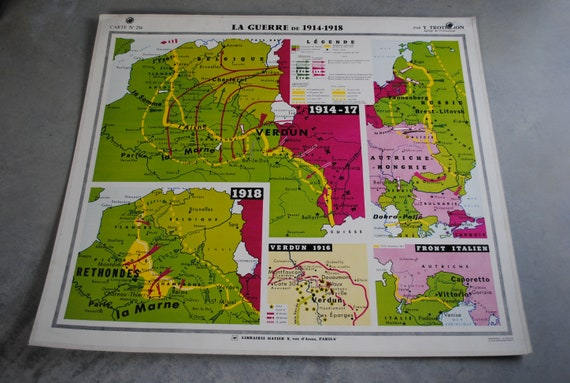 Map vintage school War 1914 to 1918 and Europe from 1919 to 1935 collection  Yves Trotignon
