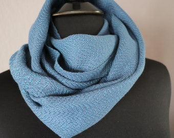 Handwoven Infinity Scarf in Blue and Green | Mermaid Scale Cotton Cowl | Gift for Her | Gift for Mom