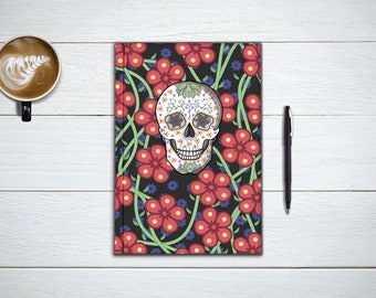 Day Of The Dead Notebook, Dia De Los Muertos Journal, Colorful Skull and Flowers Planner, Sketchbook, Back To Scool, Gift, Stocking Stuffer