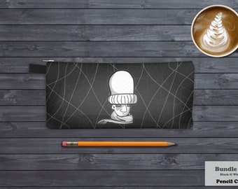 Winter Is Coming, Bundle Up Pencil Case Pattern, Black, White, Grey, Zip Pouch Wallet, and Organizer Pouch. Stationery Supplies