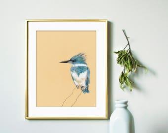 Kingfisher Bird | Bird Art Print | Wildlife Art Print | Outdoor Gift | Bird Decor | Bird Watching | Nursery Bird Print | Modern Wall Art