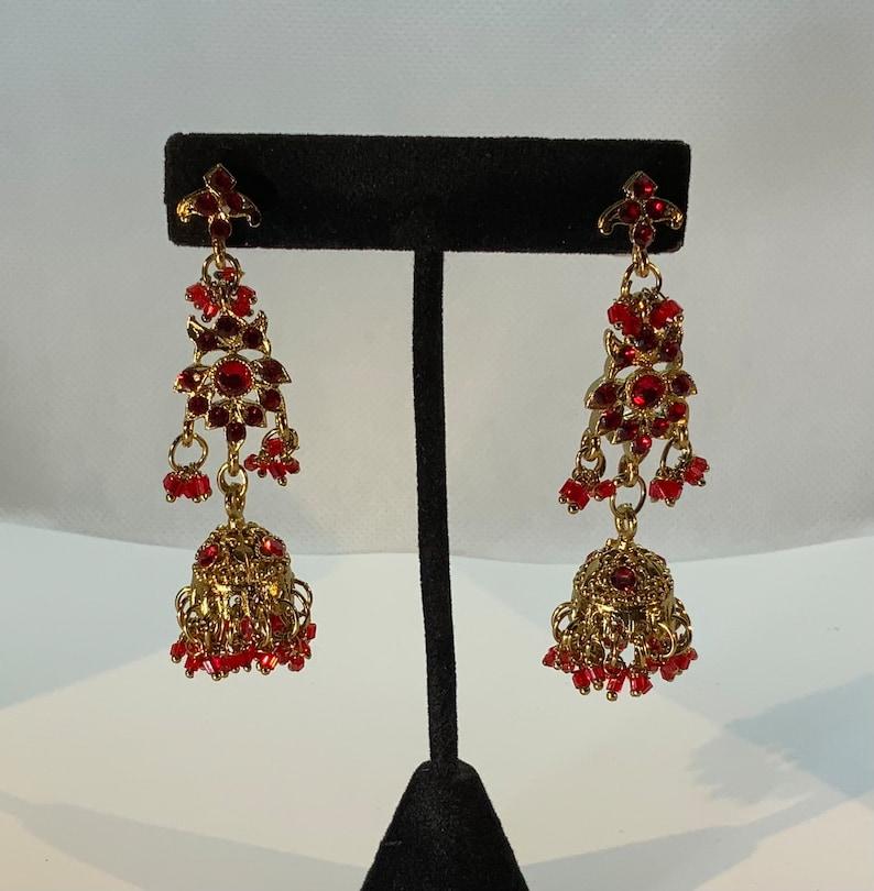 Vintage Red Rhinestone Ornate Jhumka Long Dangly Gold Tone Earrings