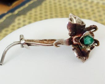 Silver and Raw Emerald Flower brooch