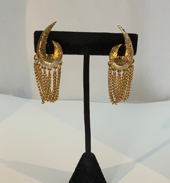 Vintage Gold Tone Chain Link Textured Clip On Earr
