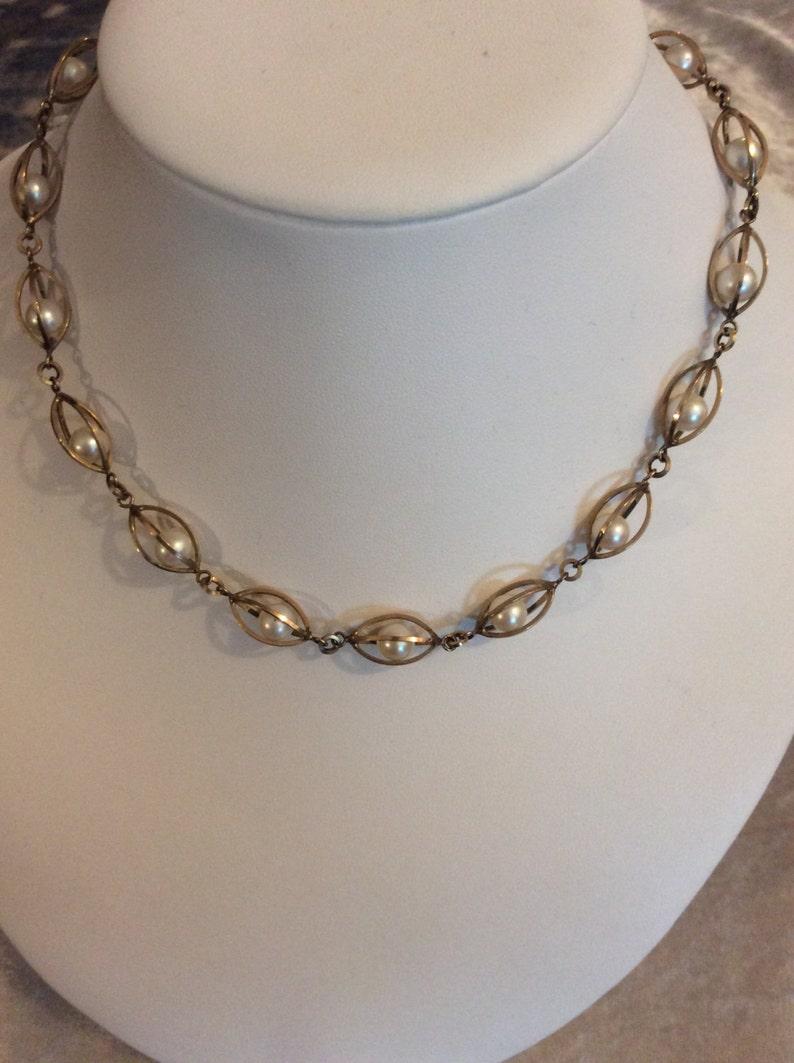 Vintage Birks Gold Filled Faux Caged Pearl Necklace