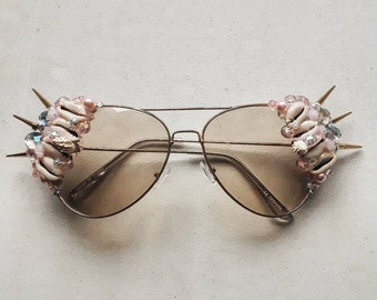 Pale gold and pink mermaid aviator sunglasses