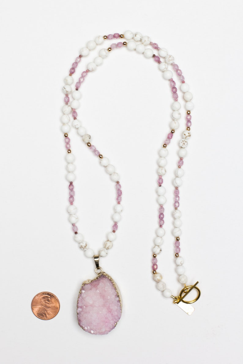 Cream Pink Geode Pendant Blush Pink Beaded Necklace