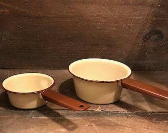 Vintage Brown and Tan enamelware sauce pans