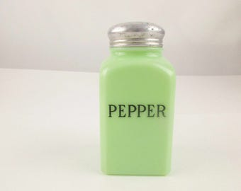 A McKee 'Pepper' Shaker - Jadeite Green Kitchen Container - 'McKee' Glass - Square Container With Tin Lid - Unique Jade-ite Collector Piece