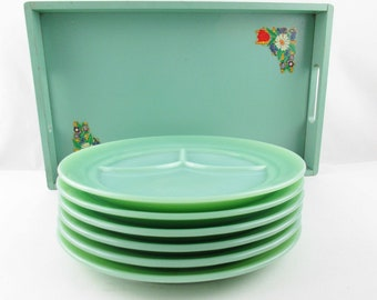 6 'Grill Plates' - Fire-King Logo - Jadeite Green - Multi-tasking Serving Plate - Three Slot Plate - 'Diners, Drive-ins And Dives'