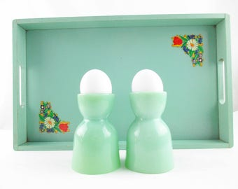 Two Fireking Double Egg Cups - Jadeite Green Milk Glass Egg Cups - Popular - Restaurant - Collectible Fire King Jadeite - Pair of Egg Cups