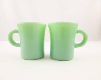 Two Fireking 'Slim Chocolate' Mugs - Jadeite Green Milk Glass Coffee Mugs - Popular - Restaurant - Collectible Fire King Jadeite Mugs