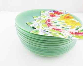 "9"" Dinner Plates - CHOICE - Fire-King Jadeite  - Green Dinner Plates -  'Jane Ray' Pattern - Fire-King 'Jade-ite' Dinner Plates"