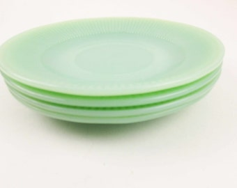 Four 'Jane Ray' Saucers Only - Jadeite Green - Fire-King Jadeite - Jadite Saucers - Rayed 'Jane Ray' Pattern - Mix and Match