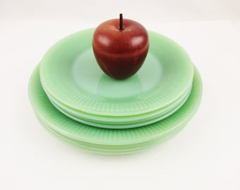 "One or More 7"" Dessert Plate - 'Jane Ray' Pattern - Jadeite Green - Salad Plate - Side Plate - Dessert Plate - Fire-King 'Jade-ite' Plate"