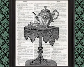 Eye Tea You - scary decor, tea table, Victorian wall art weird home decor kitchen sign strange and unusual vintage dictionary page art print