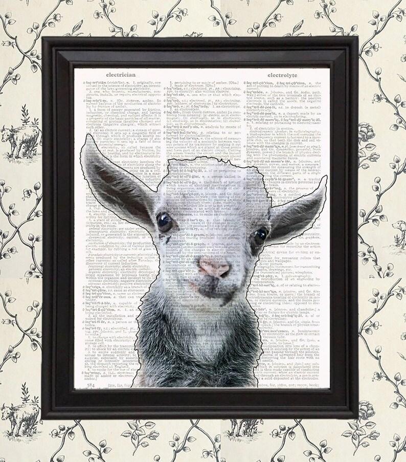 Nursery Baby Goat Print On Vintage Book Page Word Art 8x10 Baby Farm Animal Decor  Homestead Kitchen Wall Art Print Farm House Kitchen
