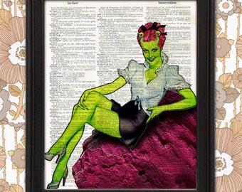 Miss Mars Alien Pinup Girl - Gil Elvgren Retro Wall Art Gift for Men Nerdy Alien decor Geeky home decor, mancave art, mars poster, christmas