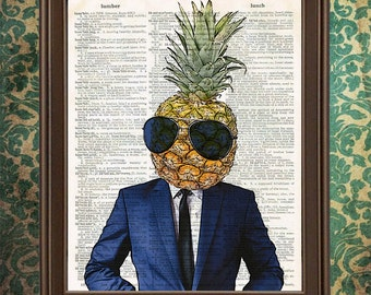 Cool Pineapple in Suit and Sunglasses book art print Fruit home kitchen decor, gift for her, tropical decor, weird stuff, funny art print