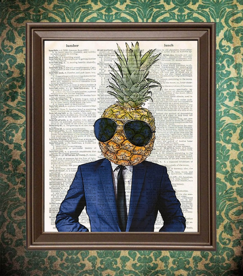 Cool Pineapple in Suit and Sunglasses book art print Fruit image 0